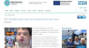 Tech breakthrough helps Lancs patients find their voice 1